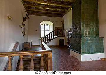 Interior of Medieval Castle in Mir (Belarus).