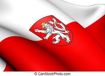 Flag of Bohemia. Close Up.