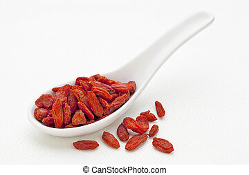 Tibetan goji berry - ceramic tablespoon of dried Tibetan...