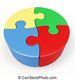 3d red, yellow, green and blue Puzzle Wheel on white...