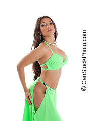 Young oriental dancer in green suit