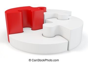 3d Puzzle Wheel with red