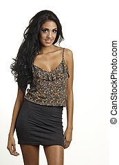 Beautiful woman in skirt and blouse Image isolated against...