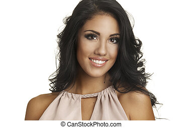 Smiling happy young woman - Portrait head-shot of beautiful...