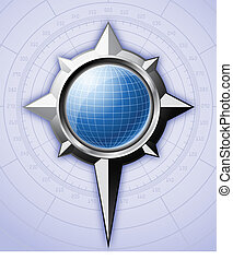 Steel compass rose with blue globe inside it.