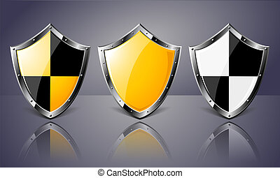 Set of Steel Shields over dark background