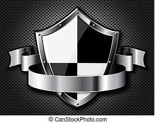 Steel shield with ribbon over black dotted background....