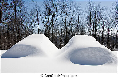 Two cars under snow - Two cars under a pile of snow after a...