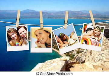 foto, helgdag, folk, hängande, klädstreck