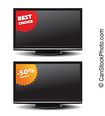 Widescreen tv with discount stickers