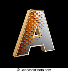 3d abstract letter with modern halftone pattern