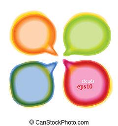 colour blur talk bubble - Set of round colour blur talk...
