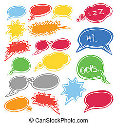 Colored comic style talk clouds - Set of colored comic style...