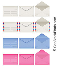Colored envelopes set Front and back sides Open and closed