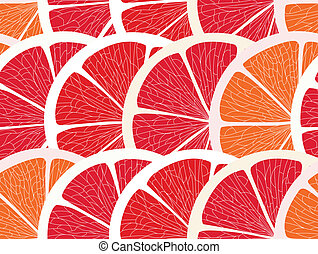 Grapefruit segments seamless background
