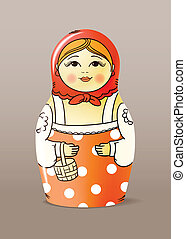 doll - Traditional hand-drawn painted varnished wood doll...