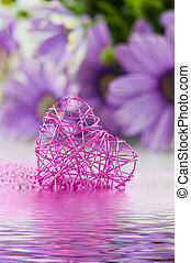 Pink heart with flower
