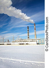 power station - power plant in a winter season Belarus