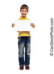Feliz, criança, segurando, em branco, cartaz, isolado,...