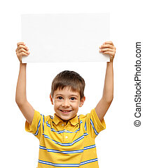 Feliz, criança, segurando, vazio, cartaz, isolado, branca,...