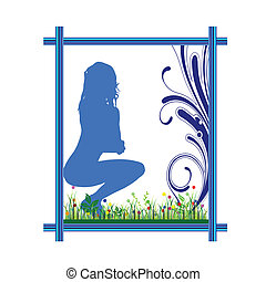 girl in the frame art vector and green grass