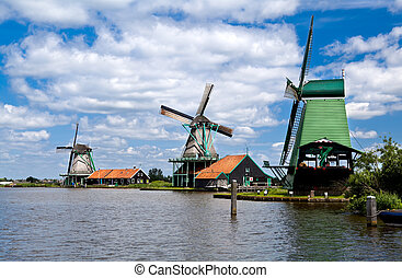 windmills in Zaanse Schans - three windmills in Zaanse...
