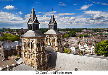 view on Maastricht from the top of Sint-Janskerk - view on...