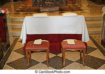 comfortable seats for the bride and groom before the wedding...