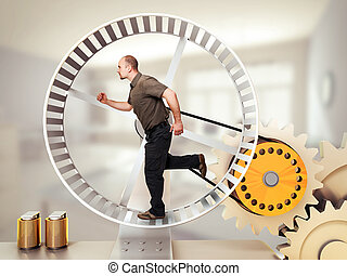 loop race - man run on hamster wheel