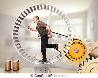 loop race - man run on hamster wheel
