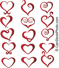 Set of hearts - Set of stylized hearts logo vector