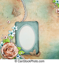 vintage textured background with a bouquet of flowers, lace and pearls
