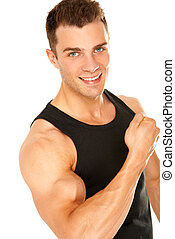 Handsome muscular young man isolated on white