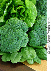 Greens - Broccoli, Cos Lettuce and Baby Spinach Leaves in...