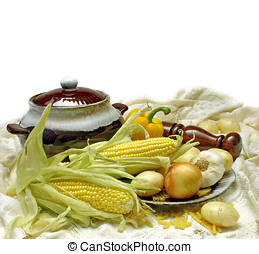 Soup Ingredients - Soup vegetables, arranged with soup...