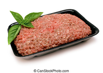 Ground Beef - Ground beef (mince) on black foam tray with...