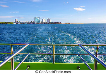 Ferry Boat Crossing - Tracks in the water from a ferry boat...