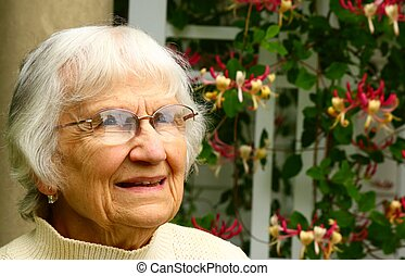 senior citizen gaze - portrait of a female senior citizen