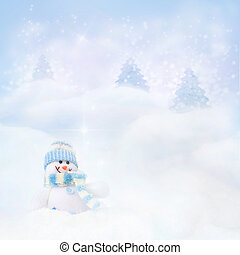 Snowman on the winter background - Christmas blue background...