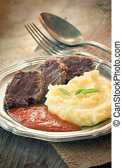 Meat with mashed potatoes - Healthy eating. Boiled beef with...