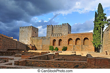 La Alhambra in Granada, Spain - a view of the Alcazaba of La...