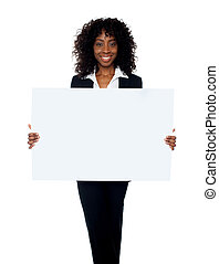 African woman showing billboard banner Copy space concept