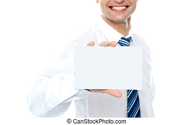 Cropped image of man showing business card