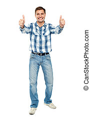 Excited guy showing double thumbs up. Isolated studio shot