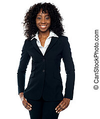 Stylish african female business executive isolated over...