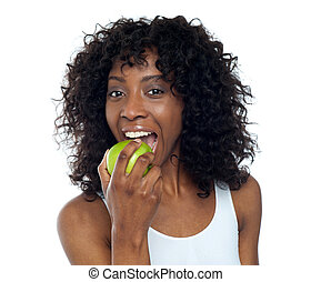 Eat healthy Stay healthy - Sporty african fit woman eating...