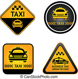 Taxi cab set stickers - Taxi cab set symbols, street orange...