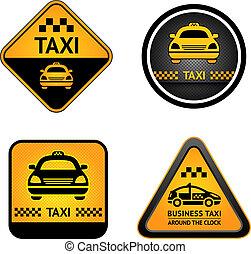 taxi, taxi, Conjunto, Pegatinas