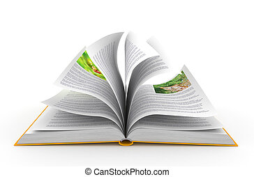 Open book over white background Computer generated image