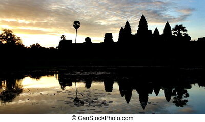 Angkor Wat - Time lapse sunrise silhouette shot of Angkor...
